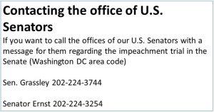 Contact Numbers for U.S. Senators from Iowa